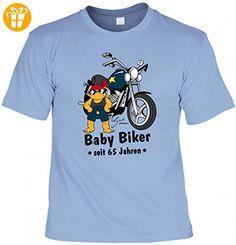 T-Shirt zum Geburtstag - Baby Biker seit 65 Jahren - lustige Geschenk-Idee zum passenden Jahrestag in der Farbe Hell-Blau, Größe:M - Shirts mit spruch (*Partner-Link)