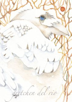 ACEO ORIGINAL watercolor painting Del Rio spirit raven 'JEWEL IN THE FOREST' #MiniatureACEOArtCard