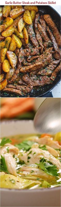 Garlic Butter Steak and Potatoes Skillet - This easy one-pan recipe is SO simple, and SO flavorful. The best steak and potatoes you'll ever have! Low Carb Recipes, Baking Recipes, Healthy Recipes, One Pan Meals, Meals For One, Talipia Recipes, Minced Meat Recipe, Garlic Butter Steak, Skillet Potatoes