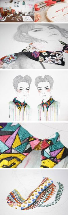 very beautiful embroidered drawings - Izziyana Suhaimi patterns on clothing
