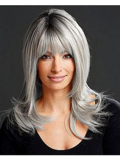 Best selection of Capless Long Straight Grey Synthetic Hair Wig in London. We sell all kinds of grey wigs. We offer synthetic wigs at the lowest price here. Grey Hair With Bangs, Grey Hair Dye, Long Gray Hair, Wigs With Bangs, Dyed Hair, Short Hair, Long Bob Hairstyles, Hairstyles With Bangs, Weave Hairstyles