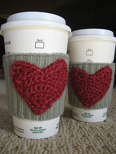 fun coffee sleeves -  @Andrea Rayray I bet these could be crochet instead - super cute! :)
