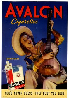 VINTAGE 1930s COLOR AVALON CIGARETTES ADVERTISING POSTER SMOKING COWGIRL PIN UP
