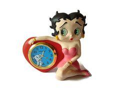 Betty Boop Small Clock Desk Clock Vintage Clock Betty Boop