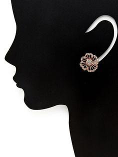 Rose Gold Cutout Flower Stud Earrings by Azaara Vintage at Gilt