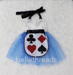 Beautiful Alice inspired Tutu Sparkle Romper with sparkle glitter on the apron. Perfect for Onederland, Mad Hatter and Alice inspired birthdays. The sequin top is a halter. The neck ties help you adju