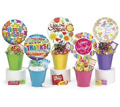 """For any occassion a candy filled bucket with 9"""" expressive balloon $19.99 plus gst, delivery in Saskatoon free. Outside Saskatoon shipping charges will apply"""