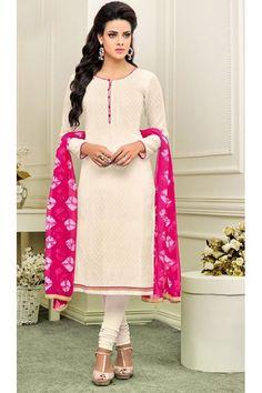 Office Wear White & Pink Cotton Churidar Suit - 75266