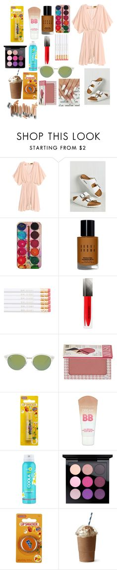 """Untitled #2824"" by marta-moreno-1 ❤ liked on Polyvore featuring Birkenstock, Bobbi Brown Cosmetics, Burberry, Ray-Ban, TheBalm, Maybelline, COOLA Suncare and MAC Cosmetics"