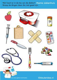 Wat hoort er in de tas van de dokter voor kleuters, thema ziekenhuis, kleuteridee, juf Petra, free printable.