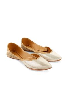 Over Lap Indian Ballerina Shoe | Gold | Monsoon