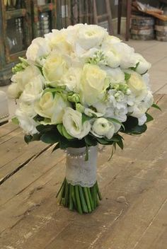 Bridal bouquet with roses, ranunculus, lisianthus, stocks and hydrangea. Designed by Forget-Me-Not FLowers. Lisianthus Bouquet, Hydrangea Bouquet Wedding, White Wedding Bouquets, Bride Bouquets, Rose Bouquet, Floral Bouquets, Floral Wedding, Flower Centerpieces, Floral Arrangements