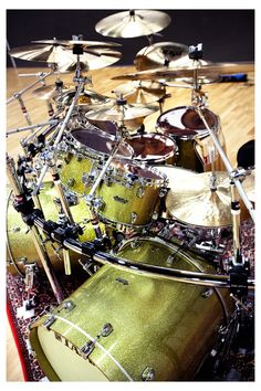 """07.29.13: Anders Lundin's Starclassic Bubinga in Vintage Gold Sparkle is the #Tama #Drum Kit of the Week! Anders plays in the band Centre of Gravity and says that his Tama kit makes him """"wake up with a happy face every day!"""" Thanks for being a part of the Tama family, Anders!"""
