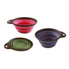These collapsible  bowls are great - attach one your leash or bag for a bowl-on-the-go; a latch is included.