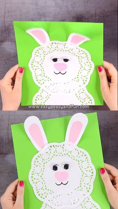 Simple is the best when it comes to crafts and this Easter Doily Bunny craft is just that. art videos Doily Bunny Craft for Kids Easter Arts And Crafts, Easter Crafts For Toddlers, Spring Crafts, Toddler Crafts, Rabbit Crafts, Sheep Crafts, Bunny Crafts, Easter Drawings, Daycare Crafts