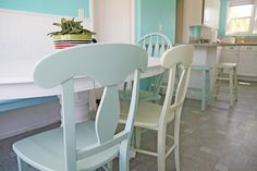 Chairs spray painted with Krylon Catalina Mist and Celery.  Gorgeous colors (would be great color for lamps/accessories too).