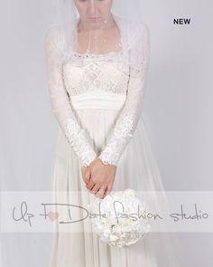 Bridal  ivory Tulle jacket /bolero/ long sleeves wedding bolero/cover up by UpToDateFashion on Etsy https://www.etsy.com/il-en/listing/261650442/bridal-ivory-tulle-jacket-bolero-long