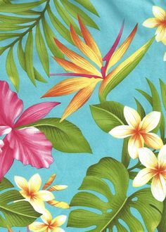 60manoa - Vintage Style Hawaiian fabric print with  plumeria, orchids, and bird of paradise flowers - apparel weight cotton apparel fabric.