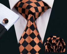 Elegantná kravatová sada - kravata + manžety + vreckovka, vzor 6.