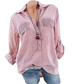 b5037cef94d260 EttelLut Women's V Neck 3/4 Roll-up Sleeve Casual Loose Pullover Blouse Tops