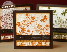 Autumn Card Set by Tami Hartley for Hero Arts.  Features the Silhouette Vines Stamp & Emboss collection.