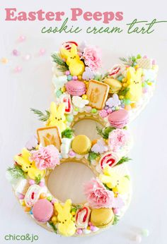 Easter Peep cookie cream tart for Spring Easter Peeps, Easter Candy, Easter Treats, Easter Food, Easter Dinner, Easter Brunch, Alphabet Cake, Strawberry Cream Cakes, Desserts Ostern