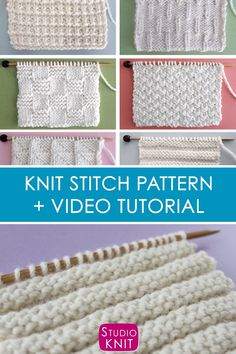 Easy textured Reverse Ridge Knit Stitch Pattern is reversible and super stretchy vertically. #StudioKnit #knittingvideo #knitstitchpattern #easyknitting