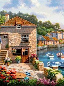 Imagine a charming fishing village built on a narrow inlet. Add a dock, a few boats and a sky full of fluffy white clouds. The Village on the Water wall mural will add just the right touch of interest to your family room or sunroom. Beautiful Paintings, Beautiful Landscapes, Beautiful Gardens, Landscape Art, Landscape Paintings, Murals Your Way, Cottage Art, Art Pictures, Amazing Art