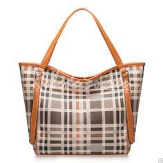 Sac à Main Femme-contraste de couleur orange à carreaux sac d'épaule