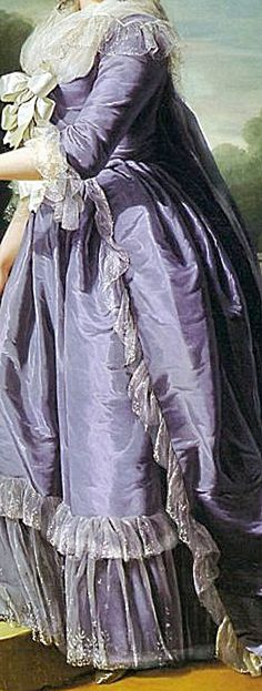 Delicate lace edge to fichu, white silk bows en échelle to stomacher, two tiered white lace ruffles (engageantes) to three quarter length sleeves, white lace edging to open robe a la Française of violet silk, two tiered white lace wide flounce to matching violet silk petticoat. Detail from portrait of Marie Louise Therese Victoire (Madame Victoire) by Adélaïde Labille-Guiard (Versailles), 1788.
