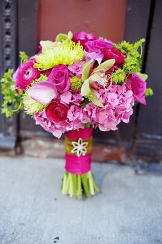 pink and green wedding bouquets | Fabulous Florist :: Courtenay Lambert Florals | Flirty Fleurs The ...  Like the pink hydrangea and the interesting green filler