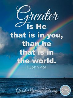 """""""Greater is He that is in you, than he that is in the world."""" Join us as we study the book of 1 John! The Words, Bible Verses Quotes, Bible Scriptures, Bible Niv, Scripture Cards, 5 Solas, John 1 5, Greater Is He, Be My Hero"""