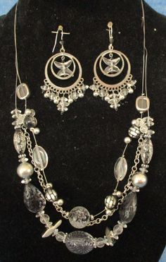 Jewelry Necklace & Dangle Earrings Plastic & Metal Beads with Lobster Claw Hook