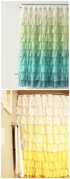 Anthropologie Ruffle Shower Curtain Tutorial - For kid's room drapes . . .