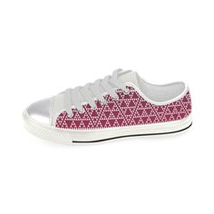 triangles in triangles pattern wht on red Canvas Women
