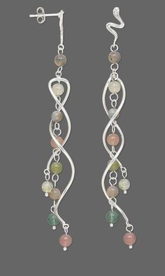 Jewelry Design - Earrings with Fancy Jasper Gemstone Beads and Sterling Silver Focals - Fire Mountain Gems and Beads