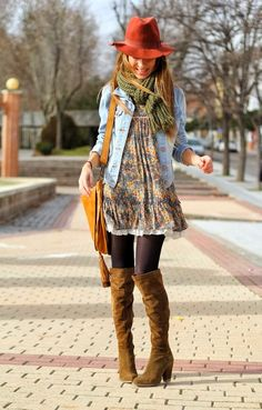 Attractive street style fashion with hat, long booties and top