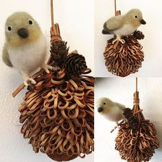 Beautiful Needle felting project wool birds(Via @chikuchiku18)