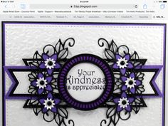 T T three flowers fie used twice around circle and banner Purple Cards, Spellbinders Cards, Card Companies, Embossed Cards, Die Cut Cards, Star Flower, Card Making Inspiration, Sympathy Cards, Flower Cards