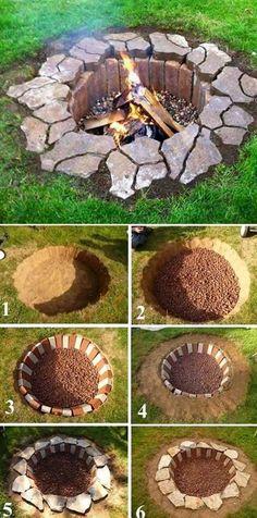 Rustic DIY Fire Pit, DIY Backyard Projects and Garden Ideas, Backyard DIY Ideas on a budget  #gardeningideas #diygardenprojectsbudgetbackyard