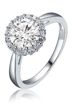 Sterling Silver Round-Cut CZ Halo Ring on @HauteLook