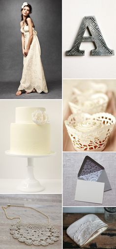 Doilies wedding inspiration.  I am going to DIY those doily cupcake wrappers.