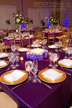 Ideas Planning a Purple and Gold Wedding Theme Receptions