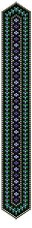 """Summer Blues Bracelet:  This lovely geometric design is 7 -1/4"""" long, stitched with only 5 colors of size 11 Delicas."""