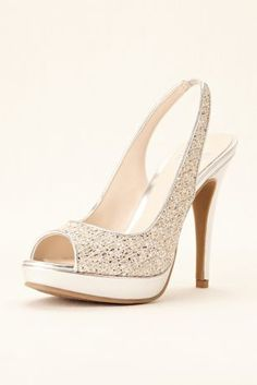 49fbb070d96 Step out in style with these must have metallic peep toe pumps. Features an  elastic · High Heels For PromProm ...