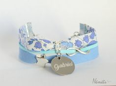 Bracelet liberty bleu médaille gravée prénom - bijou gravé personnalisable - tissu d'anjo sky blue