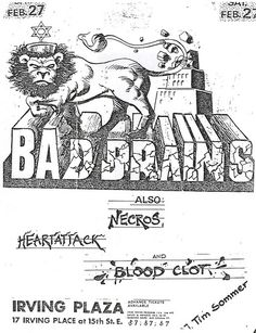 Bad Brains, Necros, Bloodclot, Heart Attack punk hardcore Flyer