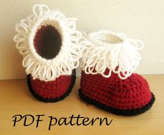 Crochet PATTERN - Santas Baby Booties Crochet Booty Pattern Red White Shoes Pattern Christmas Santa Claus Booties 0-12 months - P0033