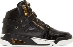 Versace Black Leather Gold Zip High-Top Sneakers
