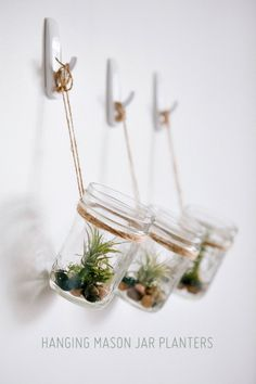 Creative DIY Planters - DIY Hanging Mason Jar Planter with Air Plants - Best Do It Yourself Planters and Crafts You Can Make For Your Plants - Indoor and Outdoor Gardening Ideas - Cool Modern and Rustic Home and Room Decor for Planting With Step by Step Tutorials http://diyjoy.com/diy-planters